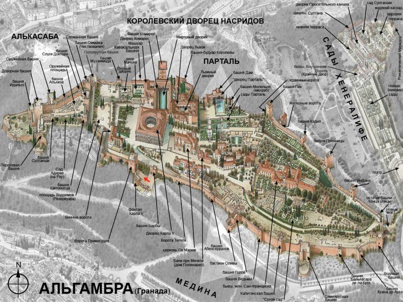 Схема Альгамбры на русском