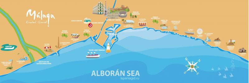 Карта пляжей Малаги