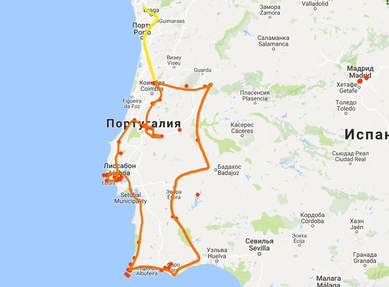 Маршрут по Португалии на авто