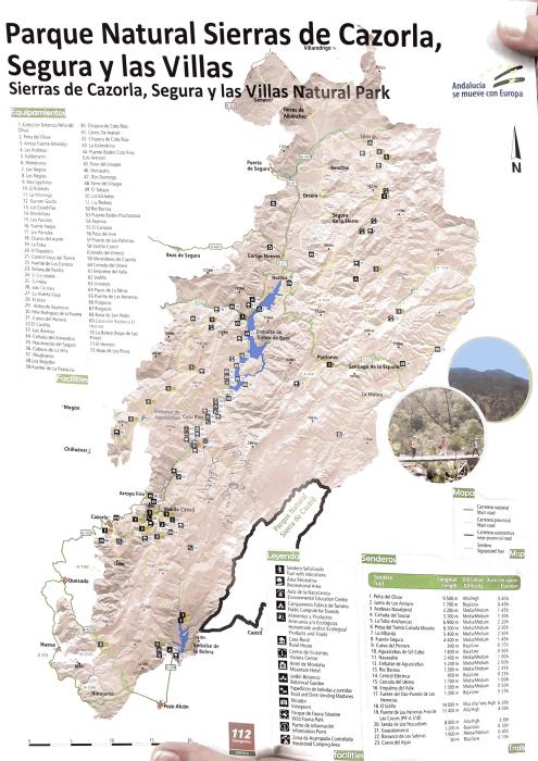 Карта парка Sierras de Cazorla