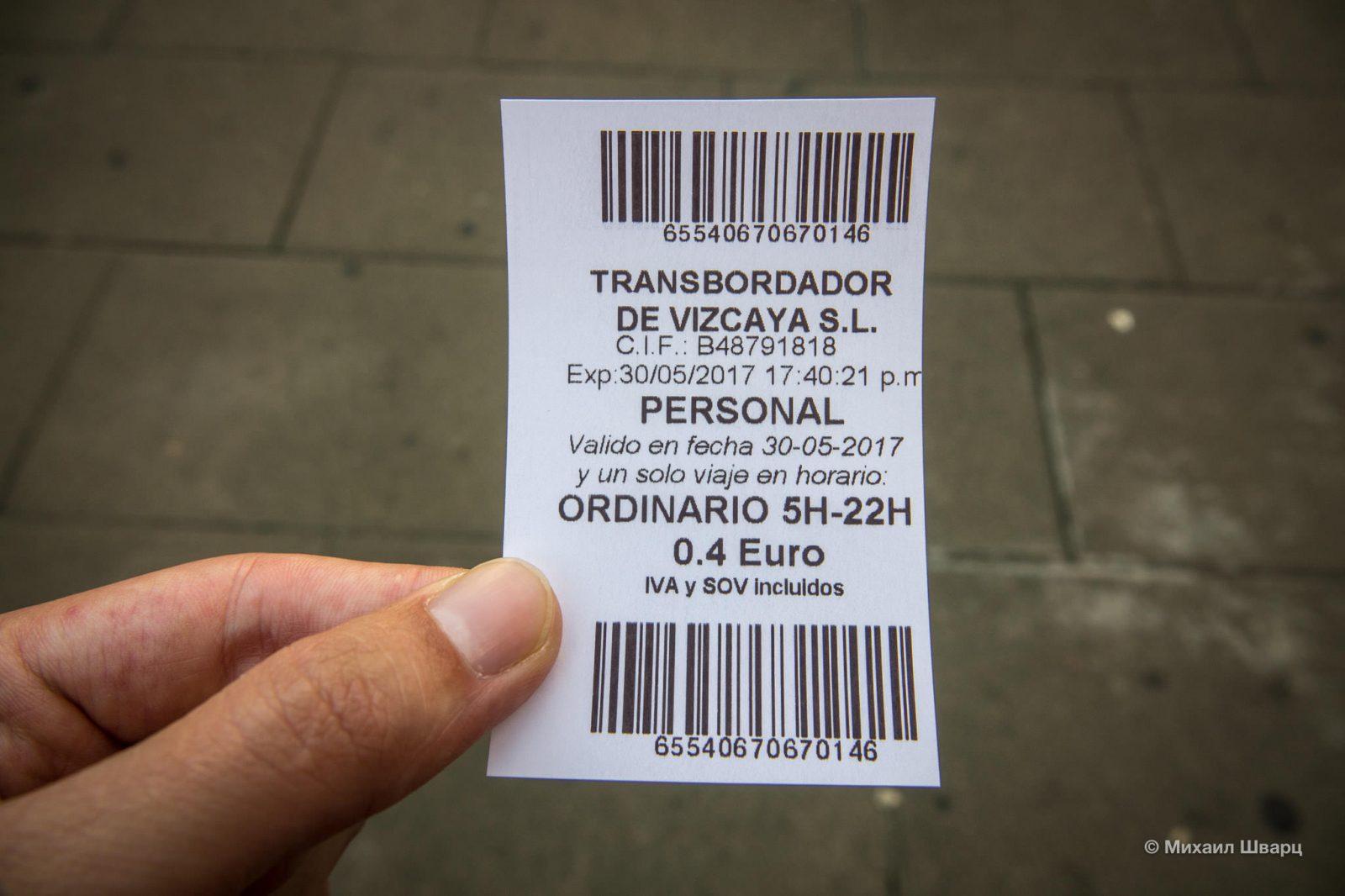 Билетик: €0,40 за проезд в одну сторону.