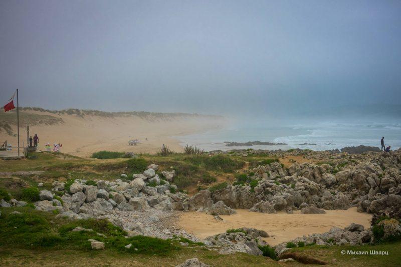 Песчаная коса скрывается в тумане
