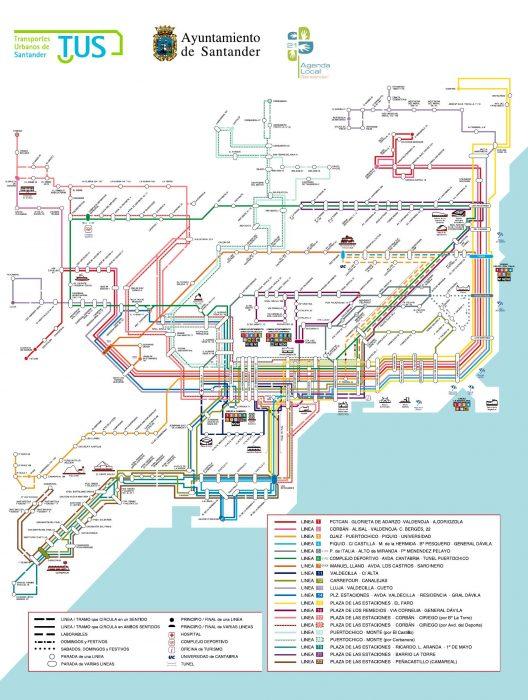 Полная схема автобусных маршрутов Сантандера