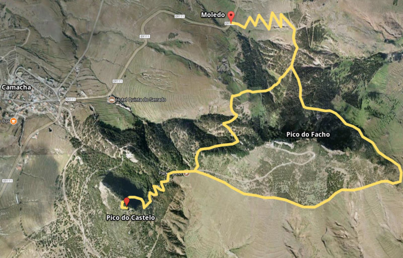 Схема маршрута к Пику Каштелу