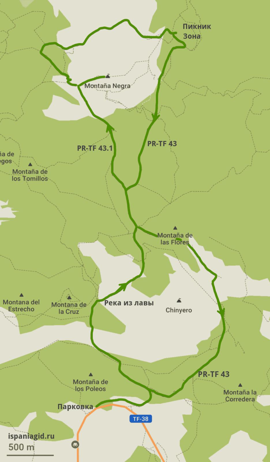 План маршрута к вулкану Chinyero