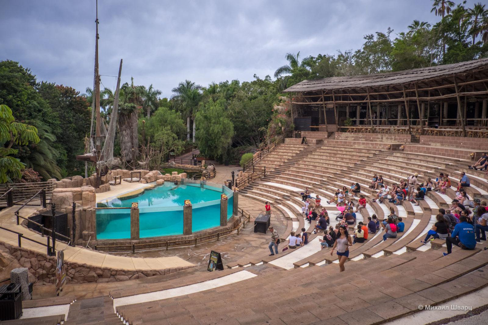 Место, где проходит шоу экзотических птиц и морских котиков. Наверху ресторан
