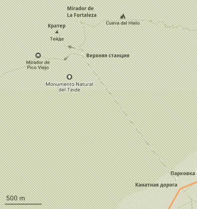 Карта маршрутов вокруг канатной дороги Тейде