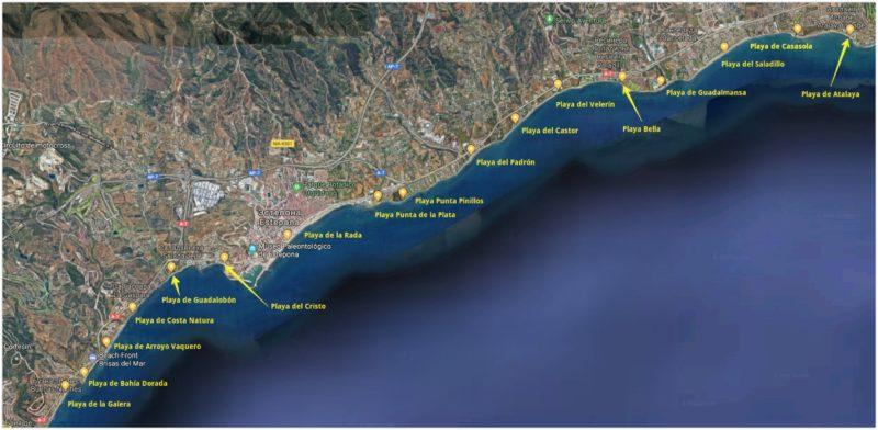 Схема расположения пляжей Эстепоны