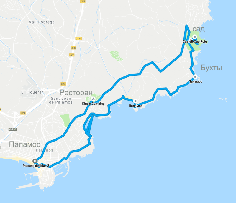 Карта прогулки из Паламоса