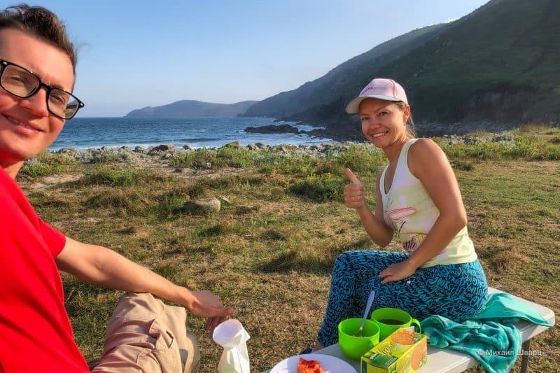Завтрак на свежем воздухе на пляже Praia de Moreira