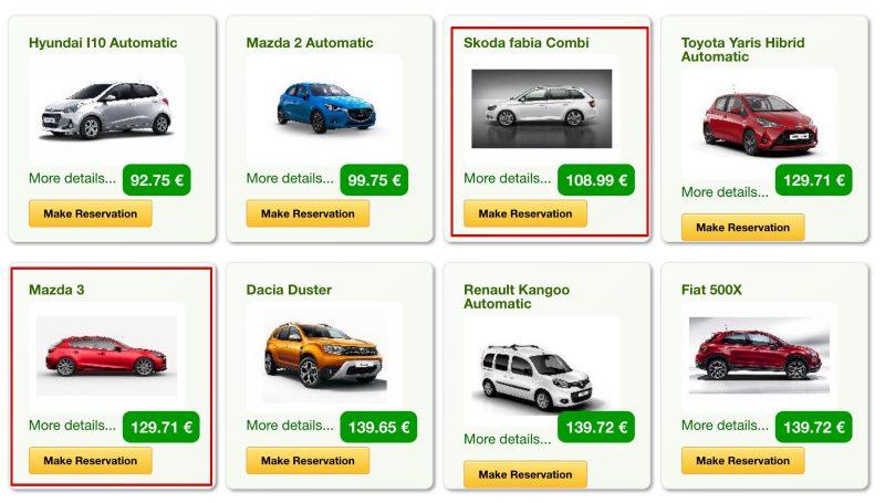 Цены на аренду авто в Pluscar Лансароте