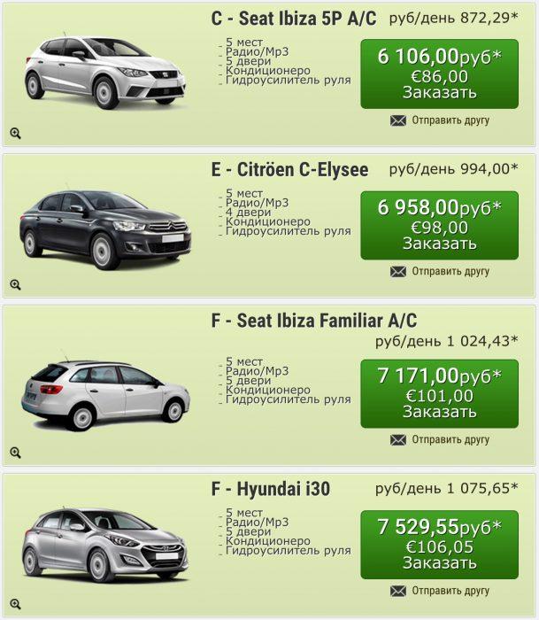 Цены на аренду авто в autoreisen