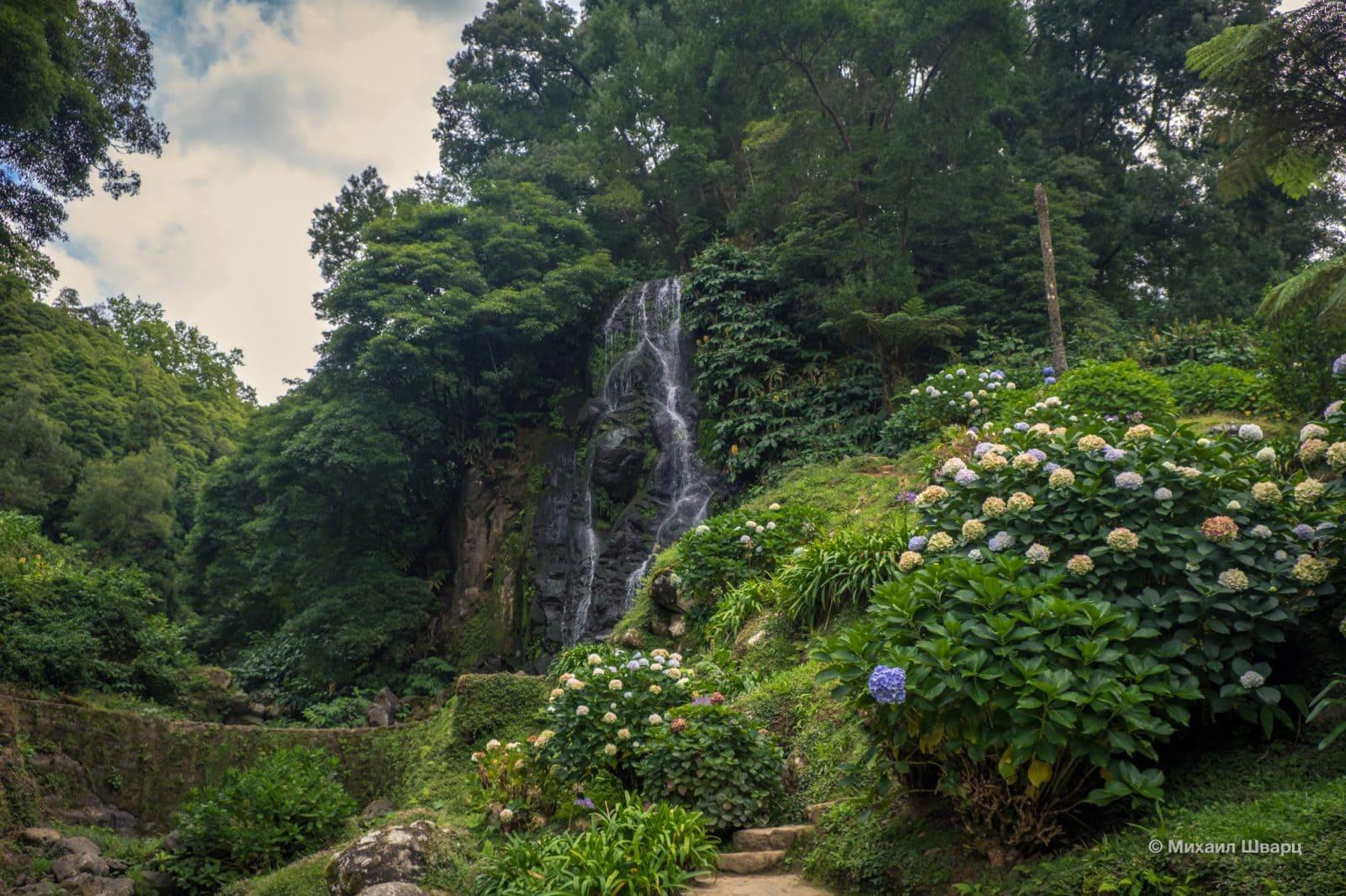 Водопад в окружении цветов