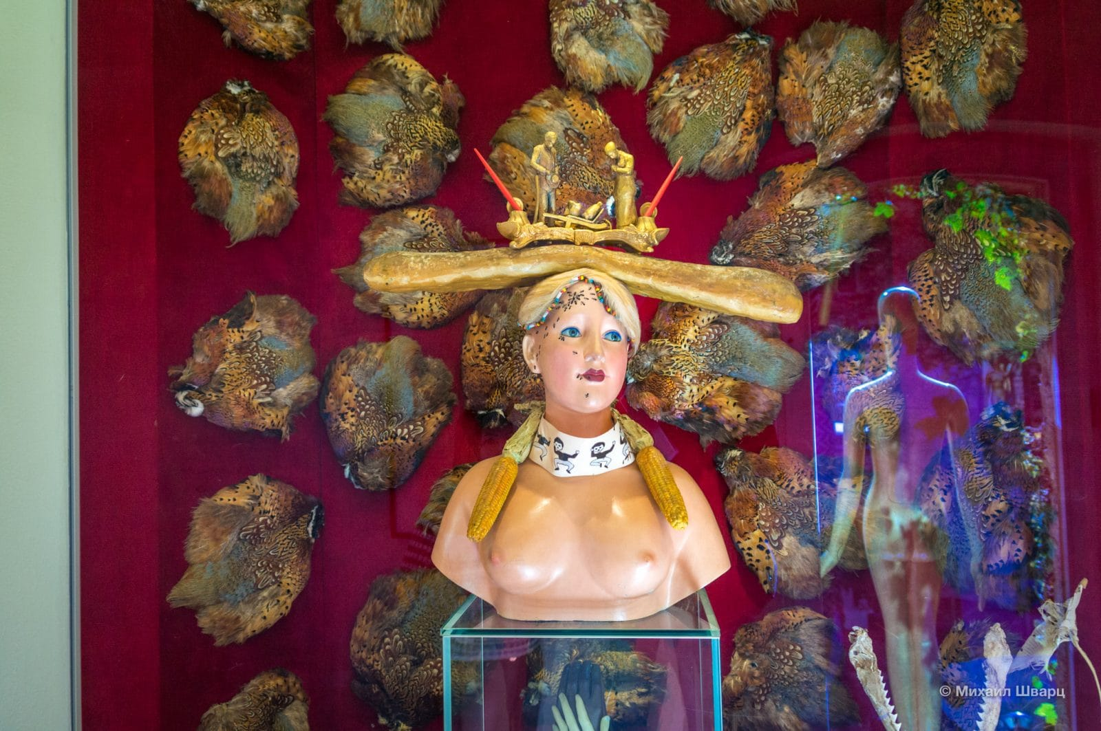 Ретроспективный женский бюст на фоне тушек фазанов