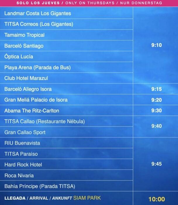 Расписание бесплатного автобуса в Siam Park